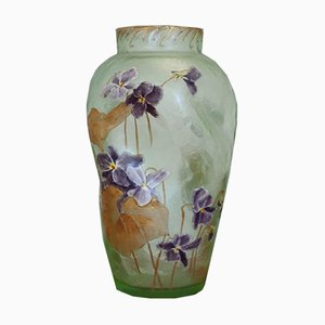 Vase Art Nouveau en Verre Vert de Legras Mont Joye, 1920s