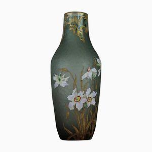 Art Nouveau Green Glass Vase from Legras Mont Joye, 1920s