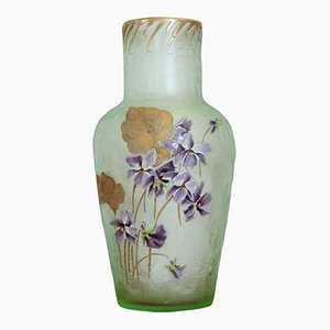 Vase Art Nouveau en Verre Vert par Legras Mont Joye, 1910s