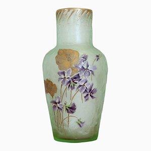 Vaso Art Nouveau in vetro verde di Legras Mont Joye, anni '10