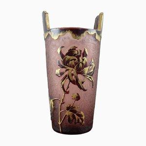 Vase Art Nouveau en Verre Vert de Legras Mont Joye, 1910s