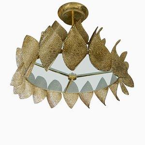 Lámpara de araña vintage con hojas de cristal de Murano