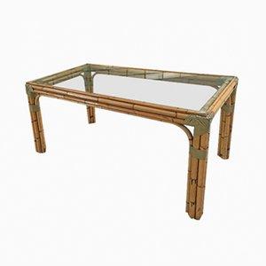 Mesa de comedor italiana de vidrio y bambú, años 60