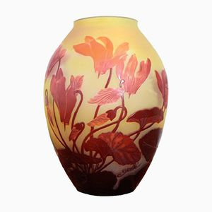Art Nouveau Yellow Glass Vase with Red Decorations by Emile Gallé, 1900s