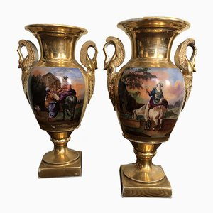 Antique Empire Porcelain Vases, Set of 2