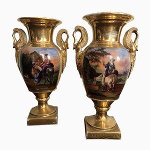 Vases Empire Antiques en Porcelaine, Set de 2
