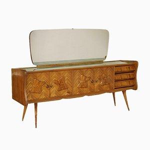 Aparador italiano de madera de zebrano y vidrio tratado tipo retro con espejo, años 50