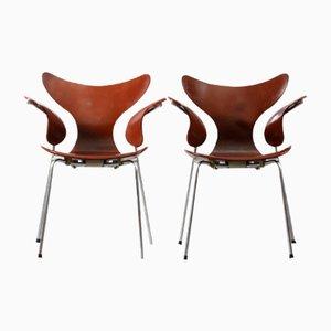 Poltrone nr. 3208 di Arne Jacobsen per Fritz Hansen, anni '70, set di 2