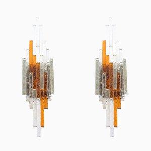 Apliques italianos Mid-Century de vidrio cincelado de Poliarte, años 60. Juego de 2