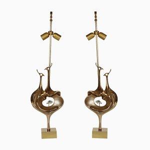 Vintage Peacock Tischlampen von Willy Daro, 2er Set