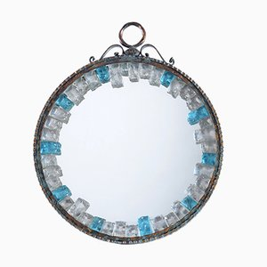 Espejo italiano Mid-Century redondo de hierro y vidrio cincelado hecho a mano de Longobard, años 60