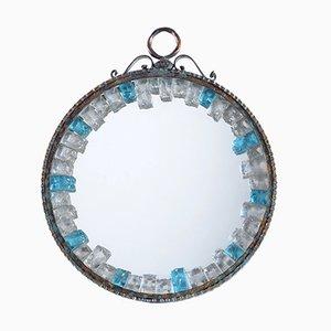 Handgefertigter italienischer Mid-Century Spiegel mit Eisenrahmen & gemeißeltem Glas von Longobard, 1960er
