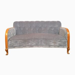 Blue-Grey Velvet Sofa with Wooden Armrests, Sweden, 1940s
