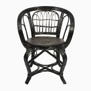 Vintage Swedish Rattan Lounge Chair in Black