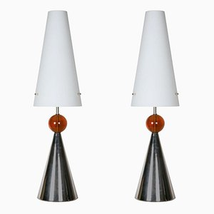 Vintage Table Lamps with Opaline Shades, Set of 2