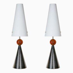 Vintage Tischlampen mit Opalglas Schirmen, 2er Set