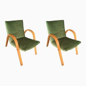 Französische Mid-Century Sessel aus Bugholz von Hugues Steiner, 2er Set
