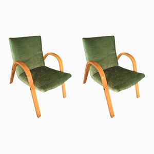 Mid-Century French Bentwood Lounge Chairs by Hugues Steiner, Set of 2