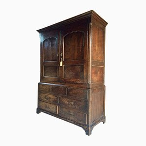 Large Victorian Hall Cupboard in Solid Oak, 1890s