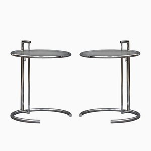 Tables d'Appoint Modèle E1027 en Chrome par Eileen Gray, 1970s, Set de 2
