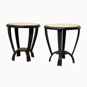 Round Art Deco Italian Black Side Tables with Parchment Tops, 1940s, Set of 2