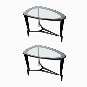 Wood & Glass Side Tables, 1950s, Set of 2