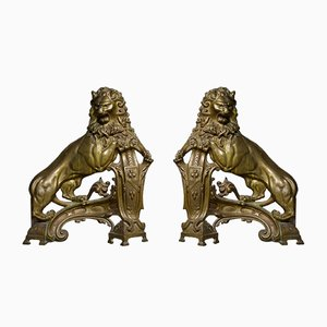 Vintage French Fire Dogs, Set of 2