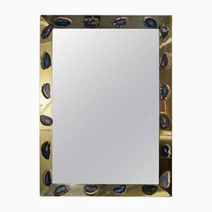 Vintage Messing Spiegel mit Achatsteinen von Willy Daro