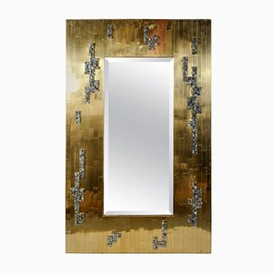 Vintage Brutalist Brass & Pyrite Mirror by Georges Mathias