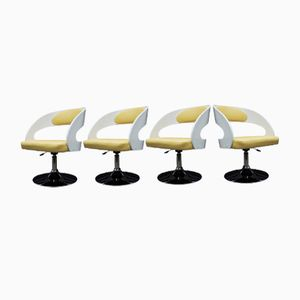 White-Painted Wooden Salon Chairs with Yellow Faux Hide Covers, 1960s, Set of 4