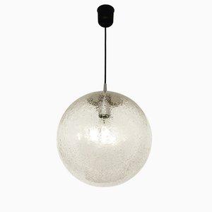 Kugel-Hängelampe aus Eisglas von Peill & Putzler, 1960er