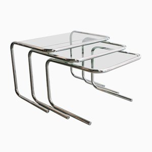 Tables Gigognes Modernes en Verre et Chrome, 1970s