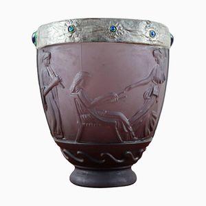 vase Art Deco en Verre Opalin Violet par Georges De Feure, 1920s