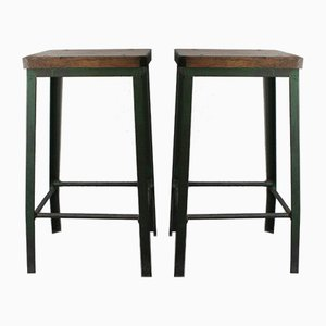 Industrial Iron Stools, 1950s, Set of 2