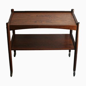 Mid-Century Rosewood Serving Bar Cart