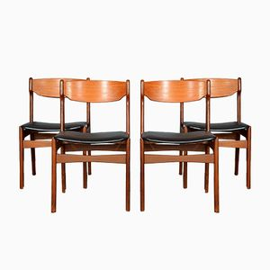 Mid-Century 49 Danish Teak Chairs by Erik Buch, Set of 4