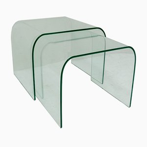 Glass Nesting Tables by Angelo Cortesi and Sergio Chiappa-Gatto for Fiam, 1980s, Set of 2