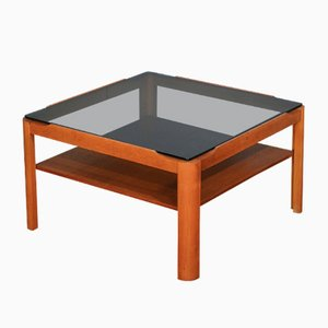 Mid-Century Teak and Smoked Glass 2-Tier Coffee Table from Myer