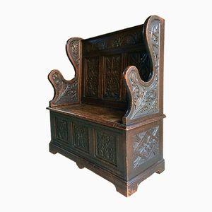 Victorian Box Settle in Solid Oak, 1890s
