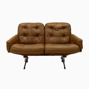 Sofá curvado de cuero, años 60