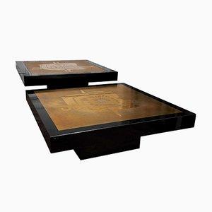 Mesas de centro vintage grandes de latón. Juego de 2