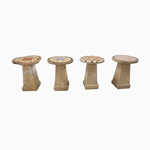 Mid-Century Beton Hocker, 4er Set
