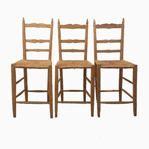 Vintage Tuscan Oak Chairs, Set of 3