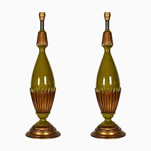Large Green and Gold Ceramic Lamps, 1970s, Set of 2