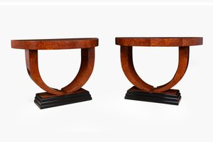 Art Deco Demi Lune Console Tables, 1930s, Set of 2