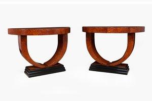 Mesas consola Art Déco en forma de medialuna, años 30. Juego de 2