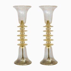Grandes Lampes de Bureau Vintage en Verre Murano, Set de 2
