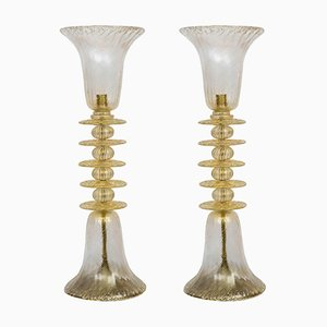Vintage Tall Murano Glass Table Lamps, Set of 2