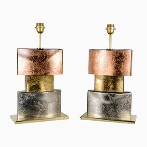 Vintage Silver, Copper & Gold Leaf Table Lamp Bases, Set of 2