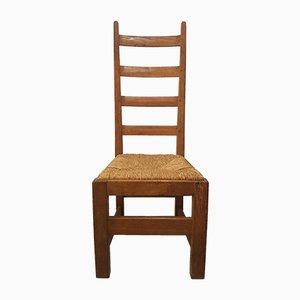 Chaises à Dossier Haut avec Assises en Paille, 1970s, Set de 6